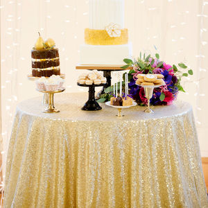 Sequin Tablecloth For Cake Table - statement wedding decor