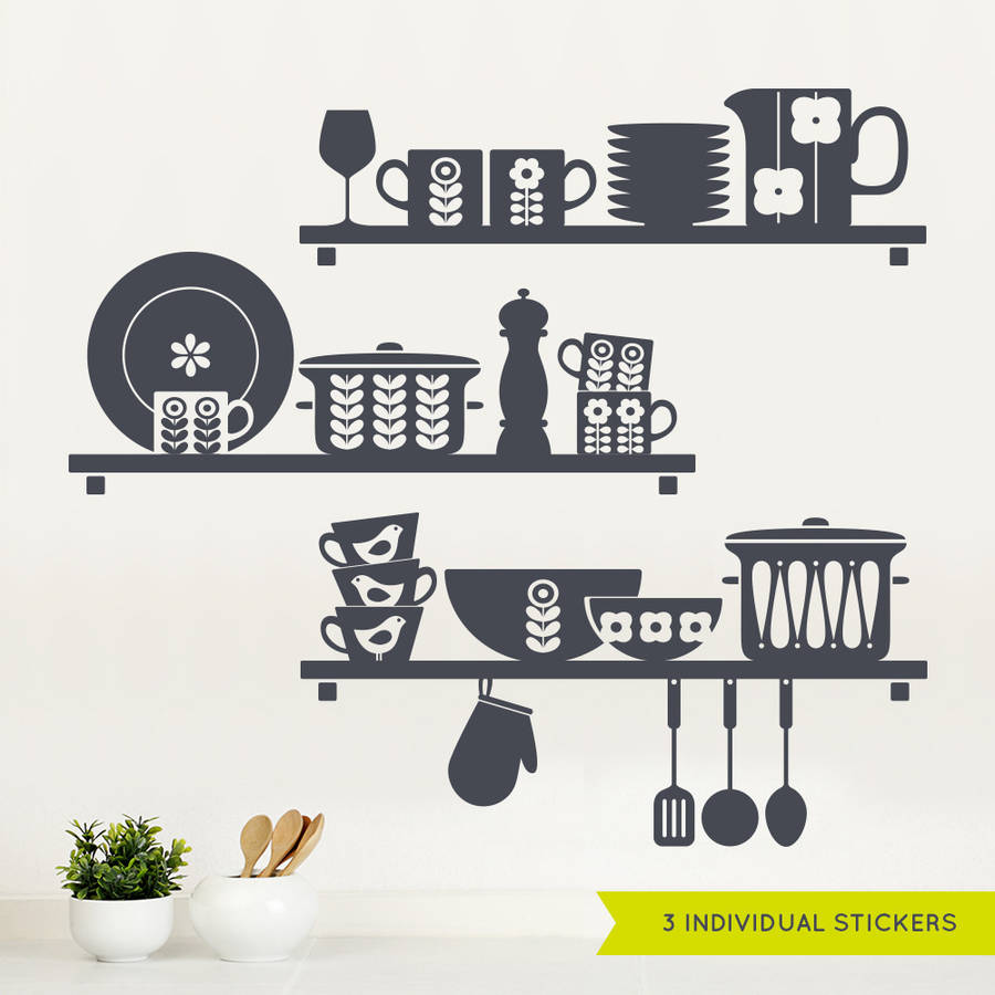 Wall Art Stickers For The Kitchen : Nordic kitchen shelves wall sticker by sirface graphics