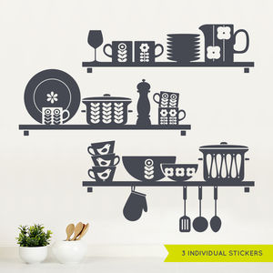 Nordic Kitchen Shelves Wall Sticker - wall stickers