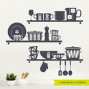 Scandinavian Kitchen Utensils Shelves Wall Sticker