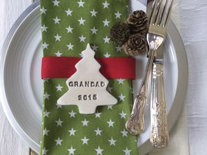 Personalised Ceramic Christmas Tree Place Setting - table decorations