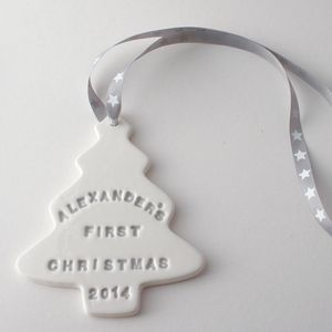 Baby's First Christmas Ceramic Tree Decoration - tree decorations