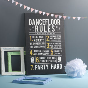 Party Dance Floor Rules Canvas Print - best for birthdays