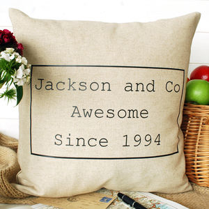 Awesome Family Cushion - 4th anniversary: linen