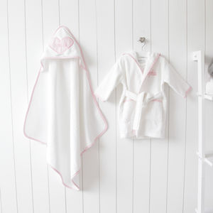Personalised Heart Towel And Bathrobe Gift Set - gifts for babies