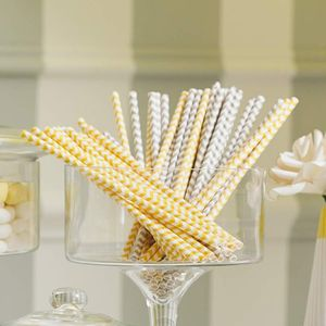 Chevron Print Paper Straws - on trend: yellow & grey