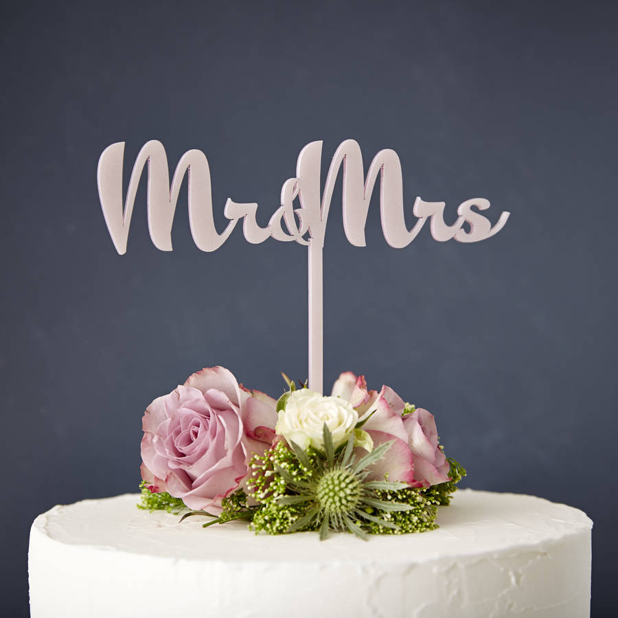 Calligraphy Mr And Mrs Wedding Cake Topper By Sophia