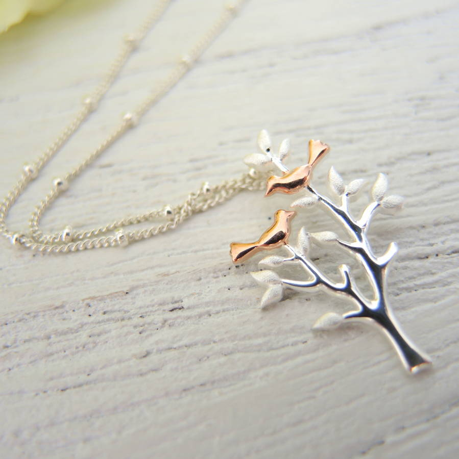 Rose Gold Plated Birds In Tree Pendant
