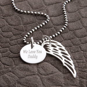 Personalised Sterling Silver Wing And Disc Pendant - necklaces
