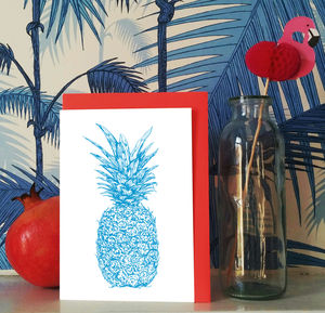 'Tropicana' Neon Pineapple Greeting Card