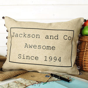 Awesome Family Cushion With Pom Poms