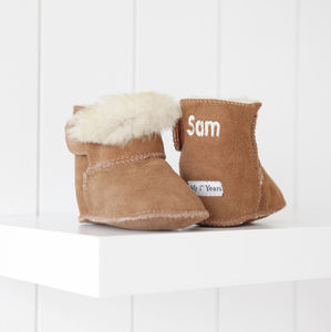 Personalised Suede Sheepskin Booties - arctic adventure