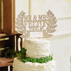 Personalised Wooden Wreath Wedding Cake Topper - winter wedding ideas