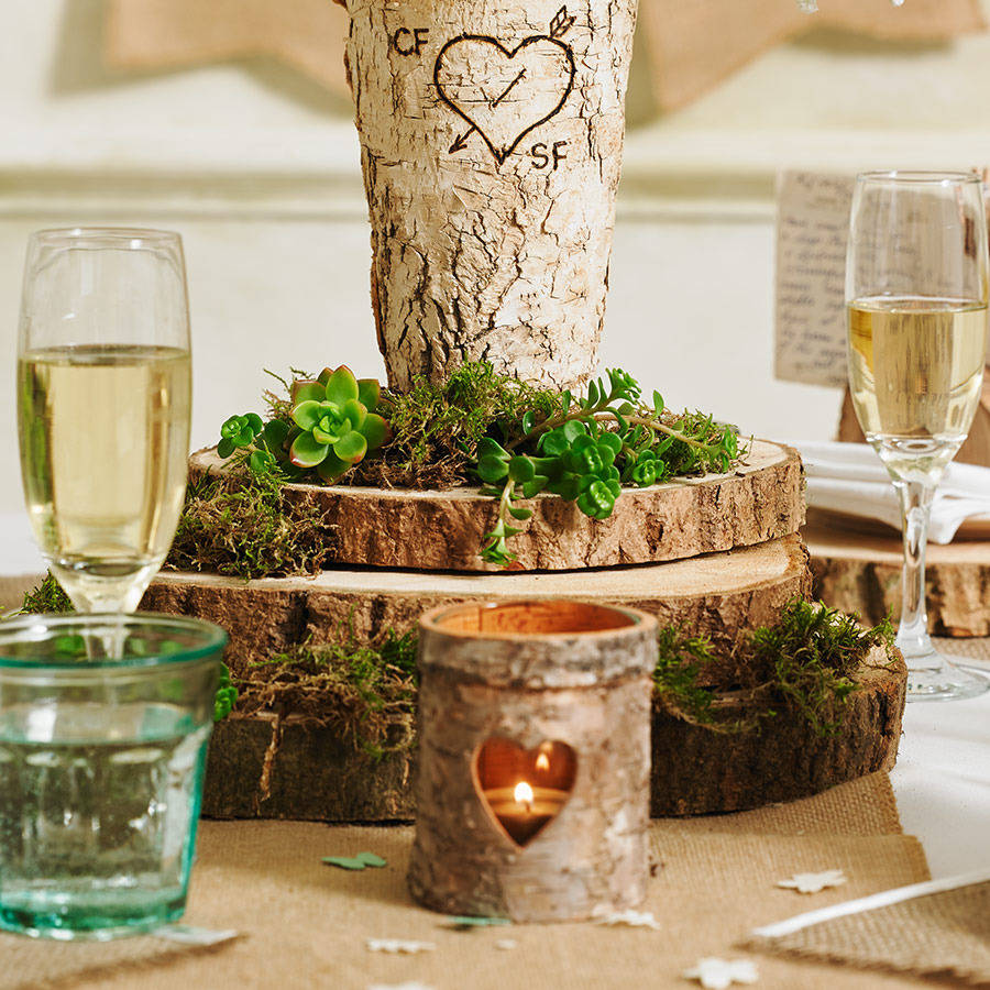 wooden tree slab stump wedding centrepiece by the wedding of my dreams. Black Bedroom Furniture Sets. Home Design Ideas