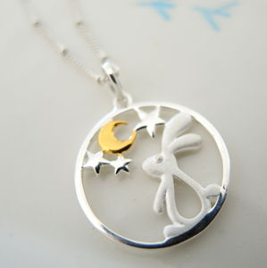Star Gazing Rabbit Pendant Necklace