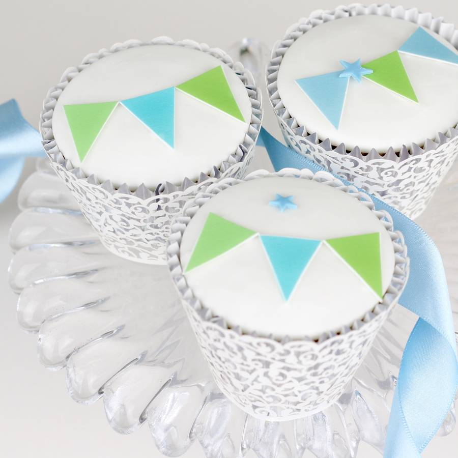 Cake Decoration Bunting : boys christening cake decorating kit with bunting by ...