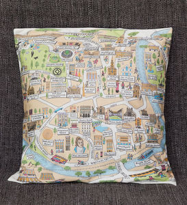 Cotton Cushion Cover With An Illustrated Map Of Bath - patterned cushions