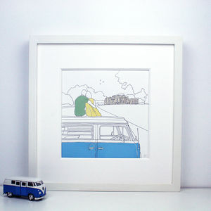 Personalised View Campervan Painting - canvas prints & art