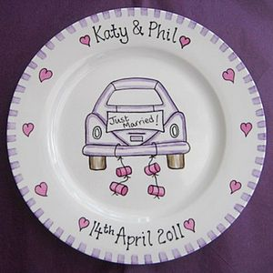 Purple Car Just Married Personalised Wedding Plate