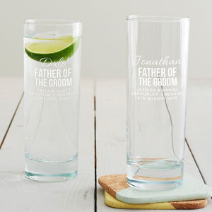 Personalised Father Of The Groom Hi Ball Glass - drink & barware