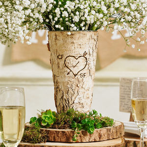 Personalised Rustic Birch Wood Vase - dining room