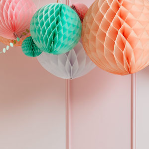 Pastel Paper Ball Decorations - adults birthday