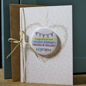 Large Personalised Magnet Wedding Bunting Card