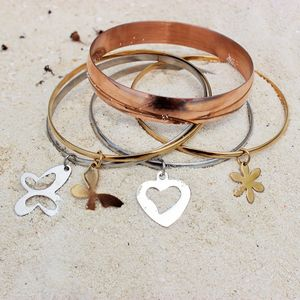 Mixed Metal Charm Bangles - women's jewellery