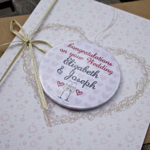 Large Personalised Magnet Wedding Or Engagement Card
