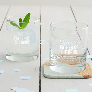 Personalised Father Of The Bride Tumbler Glass - table decorations