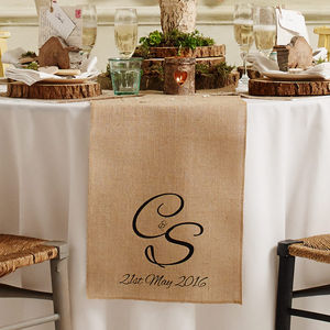 Personalised Monogram Wedding Table Runner - rustic wedding