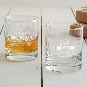 Personalised Groomsman Tumbler Glass - wedding thank you gifts