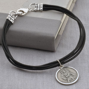 Personalised Silver St Christopher Leather Bracelet - bracelets