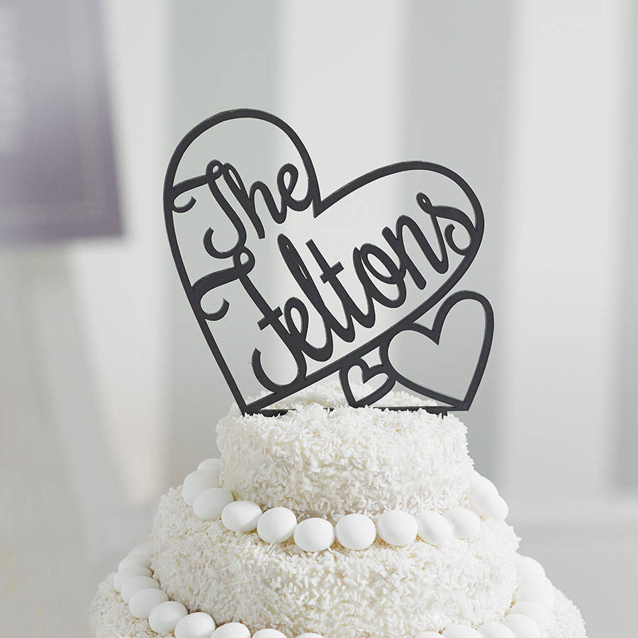 personalised heart wedding cake topper by sophia victoria joy