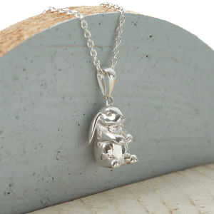 Personalised Sterling Silver Lop Eared Rabbit Necklace - necklaces & pendants