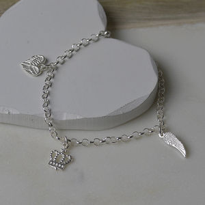 Guardian Angel Sterling Silver Charm Bracelet