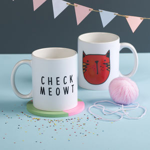 'Check Meowt' Ceramic Mug - gifts for pet lovers