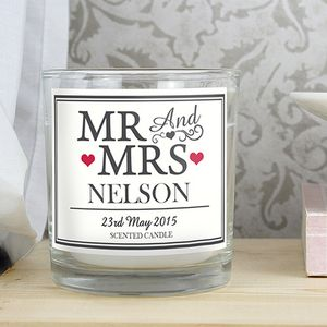 Mr And Mrs Personalised Scented Candle - home accessories