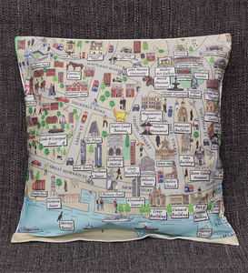 Cushion Cover With An Illustrated Map Of Liverpool