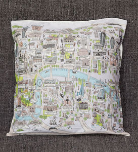 Cotton Cushion Cover With An Illustrated Map Of London - bedroom