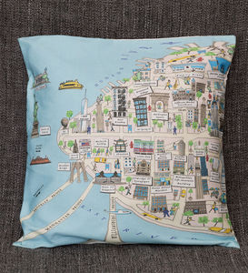 Cushion Cover With An Illustrated Map Of New York