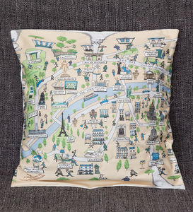 Cushion Cover With An Illustrated Map Of Paris