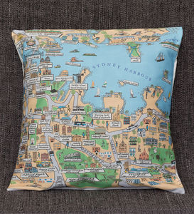 Cotton Cushion Cover With An Illustrated Map Of Sydney - bedroom