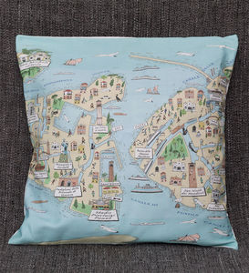 Cushion Cover With An Illustrated Map Of Venice
