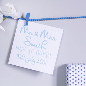 Personalised Wedding Typography Card