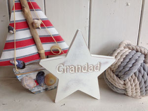 Grandad Wooden Personalised Star In Antiqued Ivory - decorative accessories