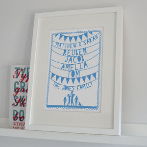Personalised Family Names And Silhouette Papercut Print