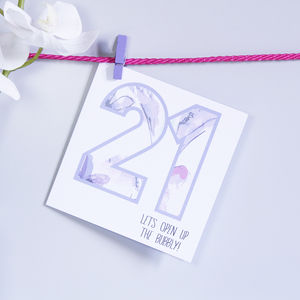 Personalised '21' Patterned Number Birthday Card
