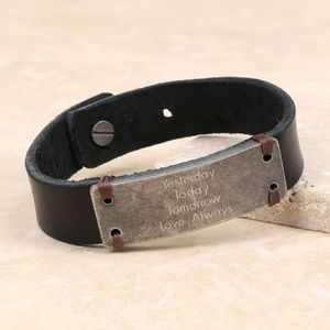 Personalised Leather Cuff Bracelet With Metal Plate