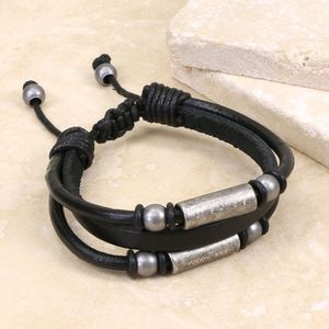 Personalised Men's Triple Layered Leather Bracelet